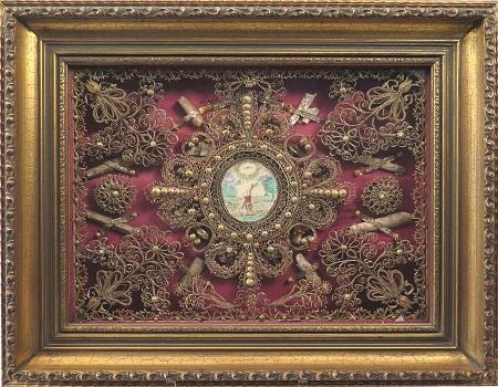 Papier roule quilling paperolles reliquaire s l xviiie s papier grave important cadre moulure dore moderne