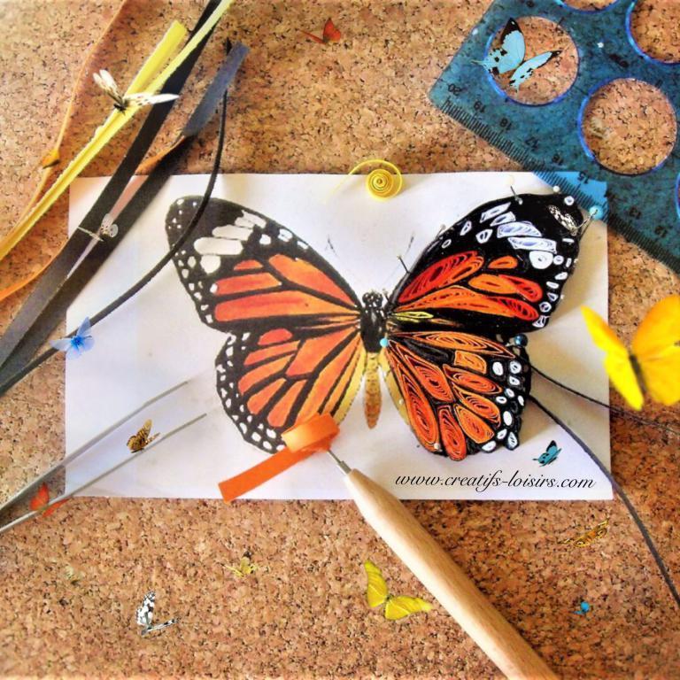 Papillon quilling papier roule paperoles loisirs creatifs