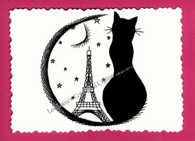 "Kit broderie sur papier carte à broder ""Chat de Paris"""