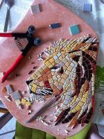 Pas japonais tete de lion mosaique en cours de realisation 1