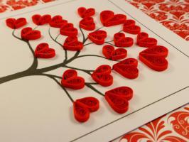 Patron arbre aux coeurs rouge quilling modeel facile debutant carte 1
