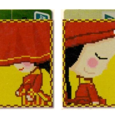 Porte carte point de croix point compte loisirs creatifs fille au chapeau rouge