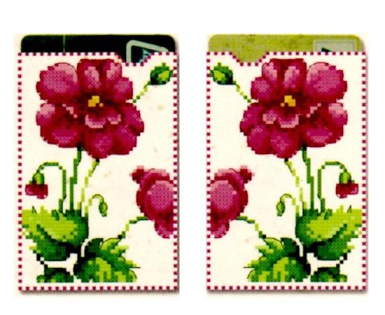 Porte carte point de croix point compte loisirs creatifs fleurs violettes