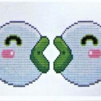 Porte cle point de croix point compte loisirs creatifs poisson blanc et vert