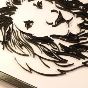 Quilling tableau tete de lion loisirs creatifs d eugenie noir et blanc bande de papier