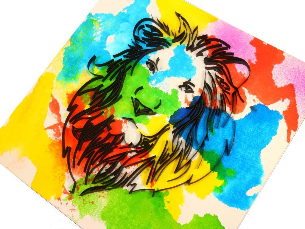 Quilling tableau tete de lion loisirs creatifs d eugenie pop art 1