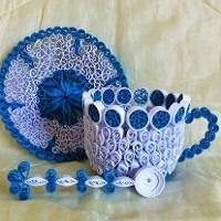 Quilling tasse papier roule sous tasse cuillere 3d blanc bleu killing curling