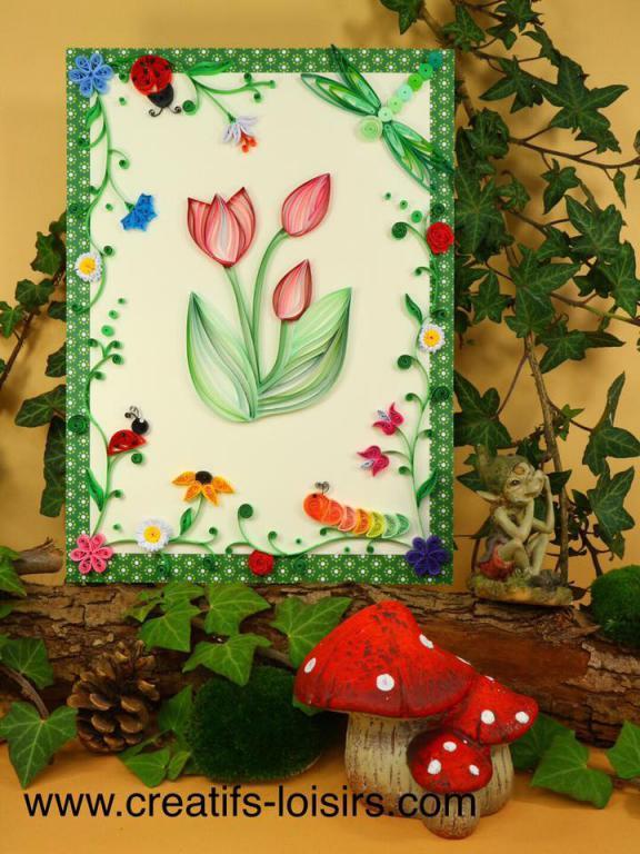 Quilling tulipe fleur chenille coccinelle tableau manuel initiation loisirs creatifs eugenie