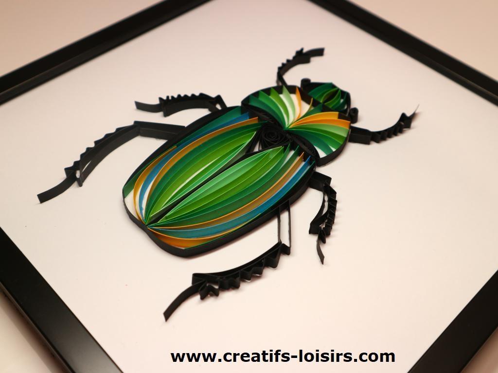 Scarabee coleopteres insecte quilling papier loisirs quilling eugenie vert noir