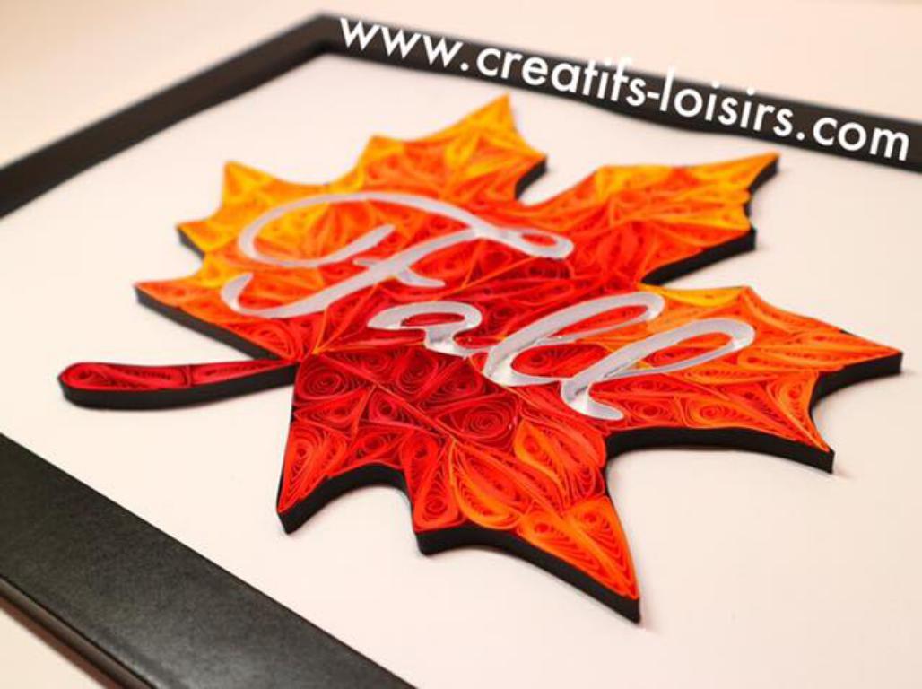 Tableau feuille d automne fall quilling papier roule losirs creatifs eugenie rouge orange