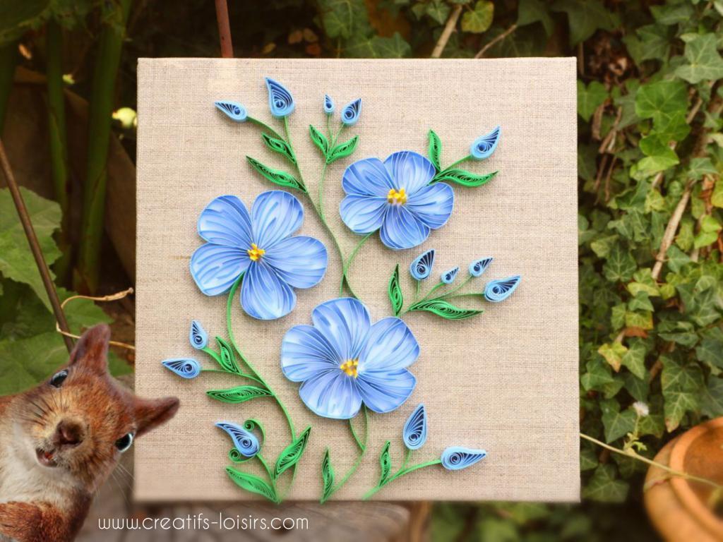 Tableau fleurs de lin quilling loisirs creatifs d eugenie