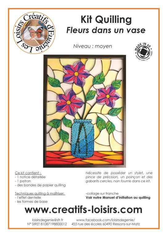 Tableau notice quilling tableau 3 fleurs dans un vase kit papier facile loisir creatif eugenie