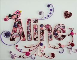 Tableau prenom quilling aline loisirs creatifs 1