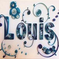 Tableau prenom quilling louis les loisirs creatifs d eugenie bleu ours papier roule nounours arabesque spirale