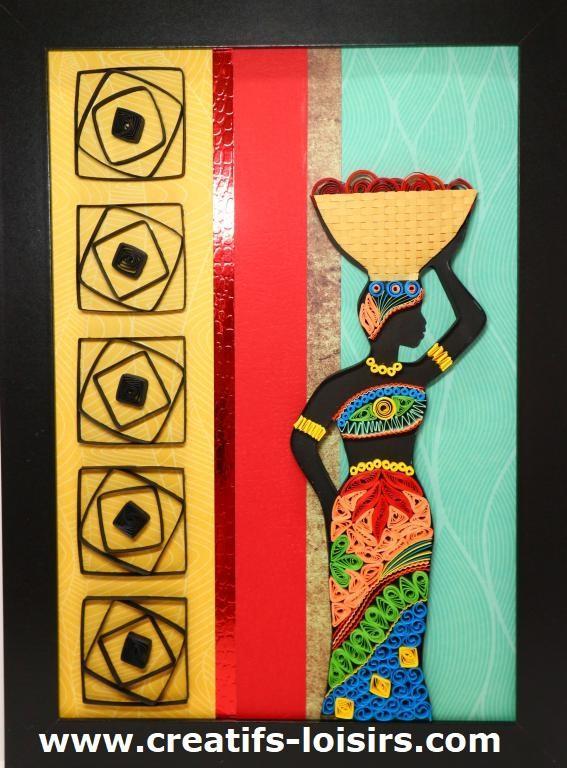 Tableau quilling africaine femme afrique papier loisirs creatifs eugenie