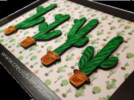 Tableau quilling cactus papier roule loisirs creatifs eugenie vert