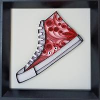 Tableau quilling chaussure converse rouge bande papier roule paperolle loisir creatif eugenie kit art spirale
