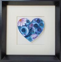 Tableau quilling coeur heart bleu fleur diy bande papier roule paperolles loisirs creatifs spirale