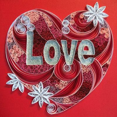 Tableau quilling Love