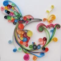 Tableau quilling colibri loisirs creatifs 1