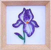 Tableau quilling fleur iris violette bande papier