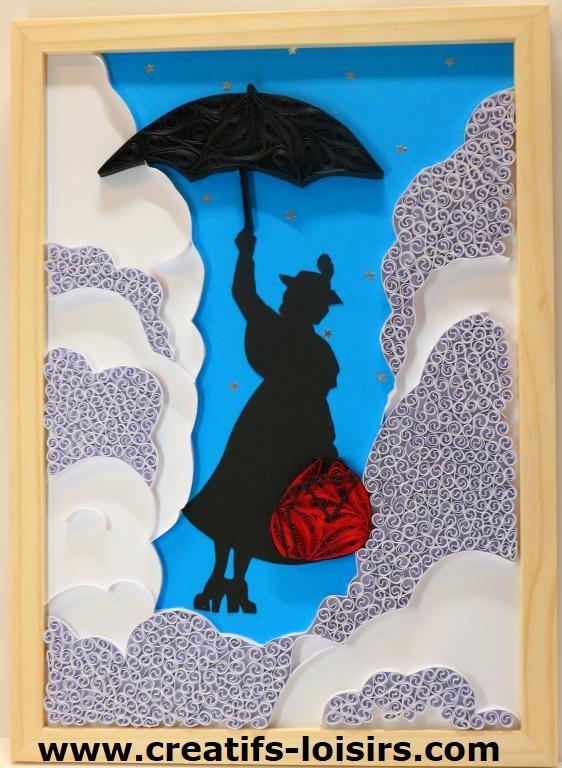 Tableau quilling mary poppins papier parapluie ciel nuage loisir creatif eugenie