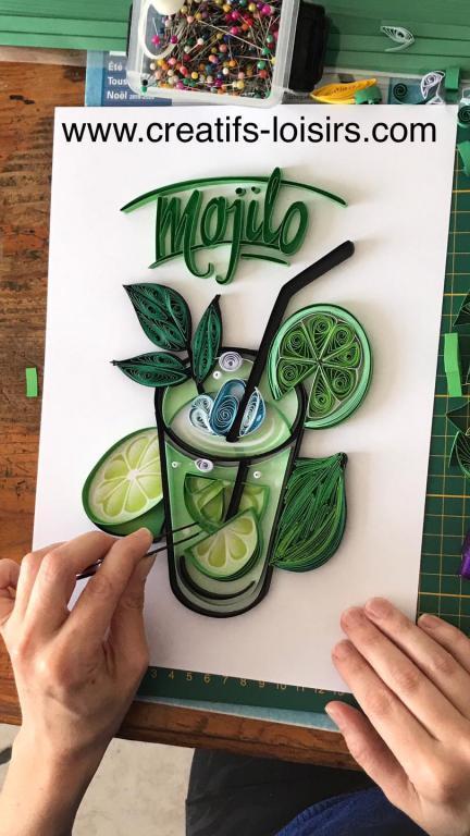Tableau quilling mojito papier roule en cours de realisation citron menthe verre paille glacon