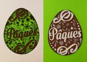 Tableau quilling oeuf de paques comparaison des couleurs bande de papier blanc vert marron loisir creatif eugenie paerolles diy