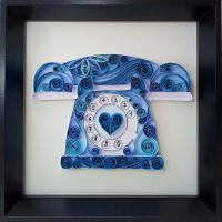 Tableau quilling retro vintage telephone a cadran bleu bande papier roule spirale paperolle art loisir creatif eugenie kit