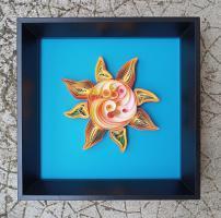 Tableau quilling soleil sun bande papier paper roule spirale paperolles fond bleu cadre tuto modele fecile gratuit loisir creatif eugenie art