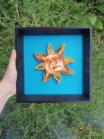 Tableau quilling soleil tuto modele facile bande papier roule spirale jaune orange bleu loisir creatif eugenie