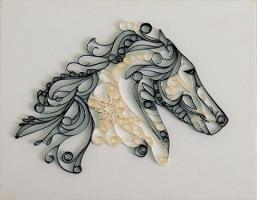 Tableau quilling tete de cheval loisirs creatifs 1