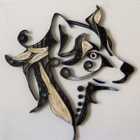 Tableau quilling tete de chien loisirs creatifs 1