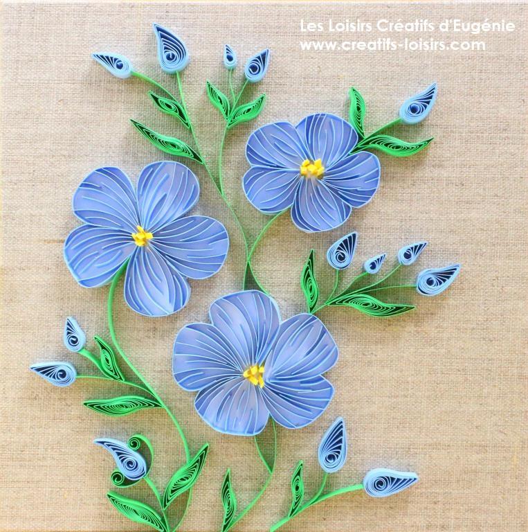 Taleau quilling fleurs de lin sur toile de lin les loisirs creatifs d eugenie 1