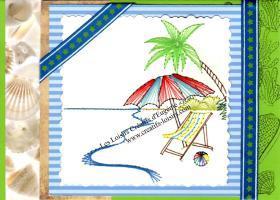 Vacances plage parasol palmier chaise longue broderie papier carte broder loisir creatif eugenie